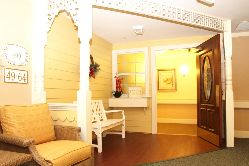 The entry way to a home at Artis Senior Living of Brick in Brick, New Jersey