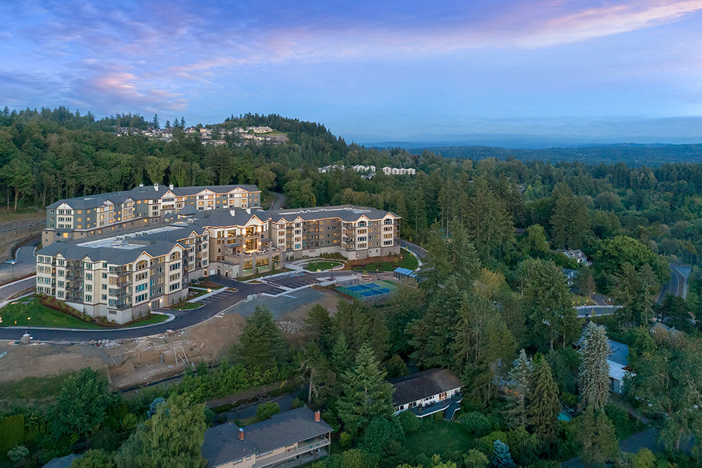 An aerial view of Touchmark in the West Hills in Portland, Oregon and the surrounding area