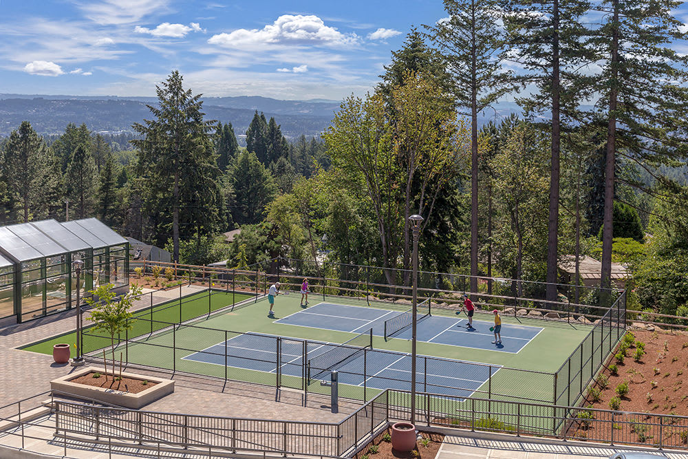 Community tennis courts at Touchmark in the West Hills in Portland, Oregon