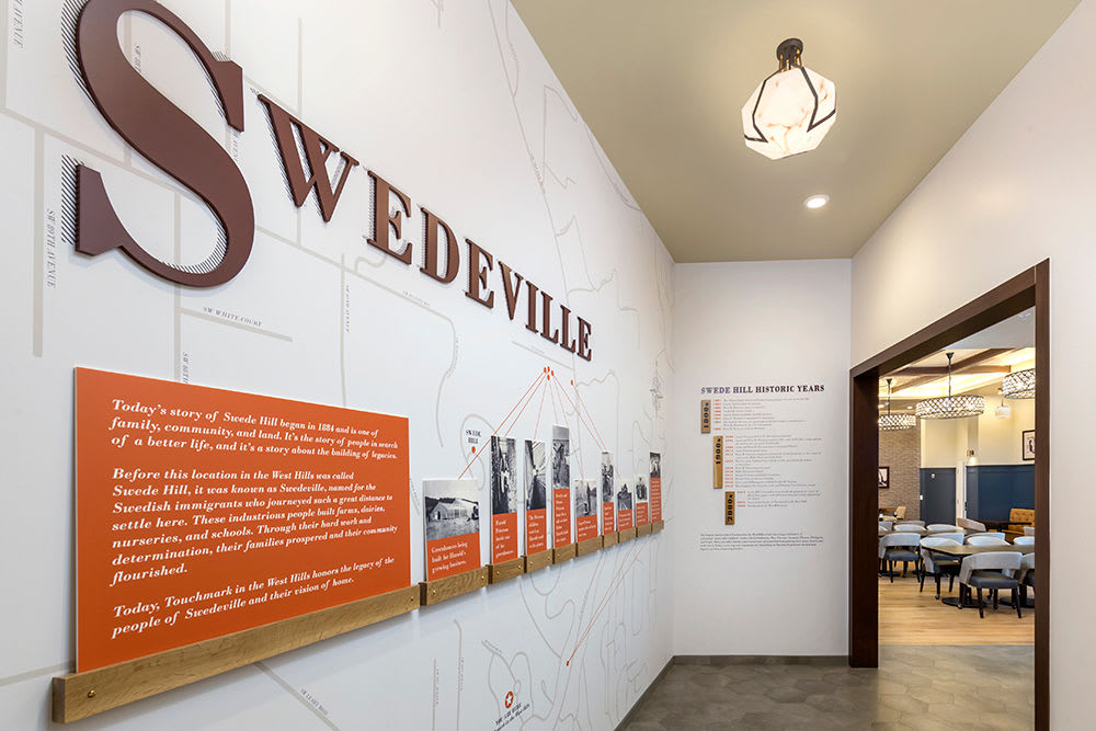 The history of Swedeville at Touchmark in the West Hills in Portland, Oregon