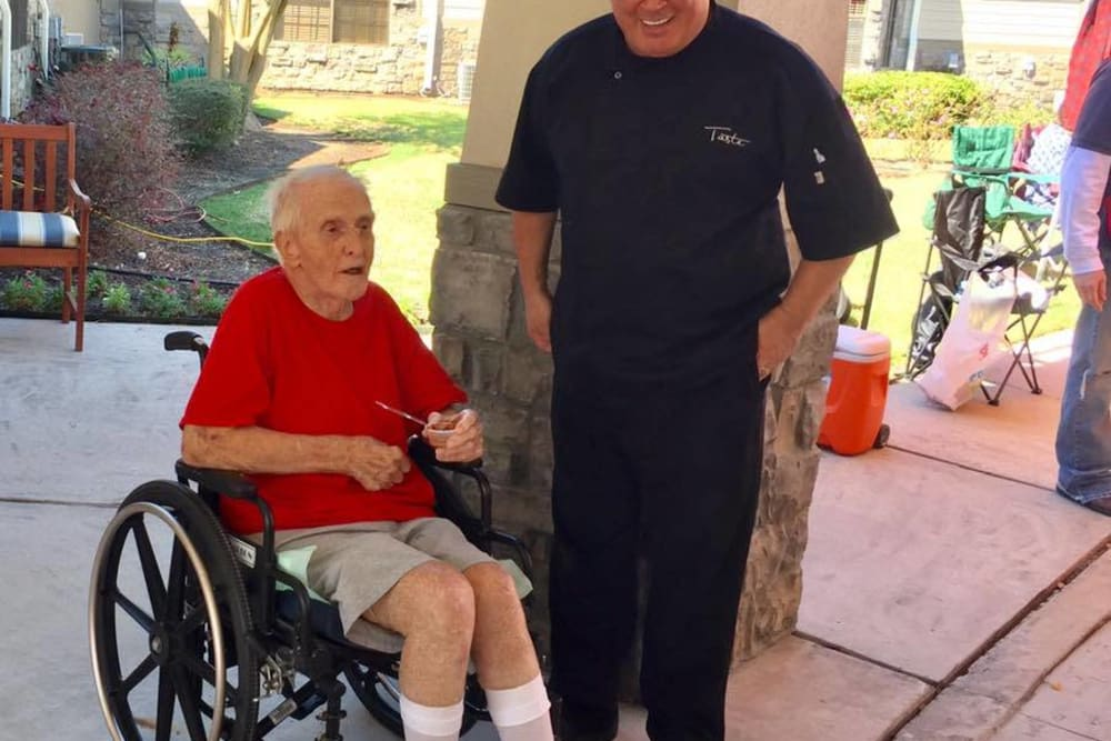 Care worker and resident at Parsons House Cypress in Cypress, Texas