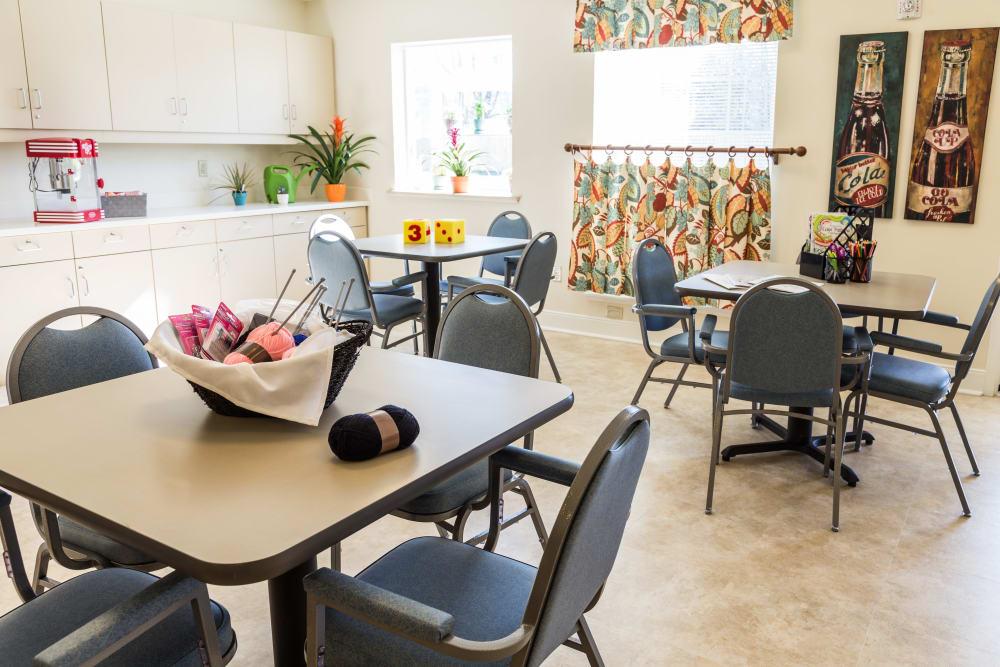 The dining area set up at Artis Senior Living of Chestnut Ridge in Chestnut Ridge, New York