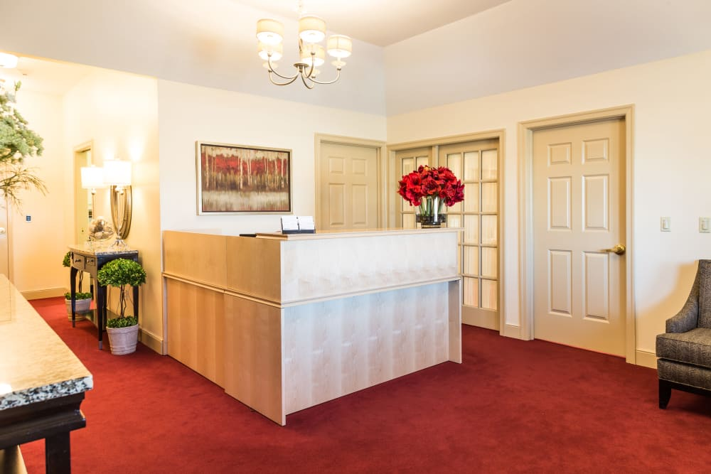The reception desk at Artis Senior Living of Potomac in Bethesda, Maryland