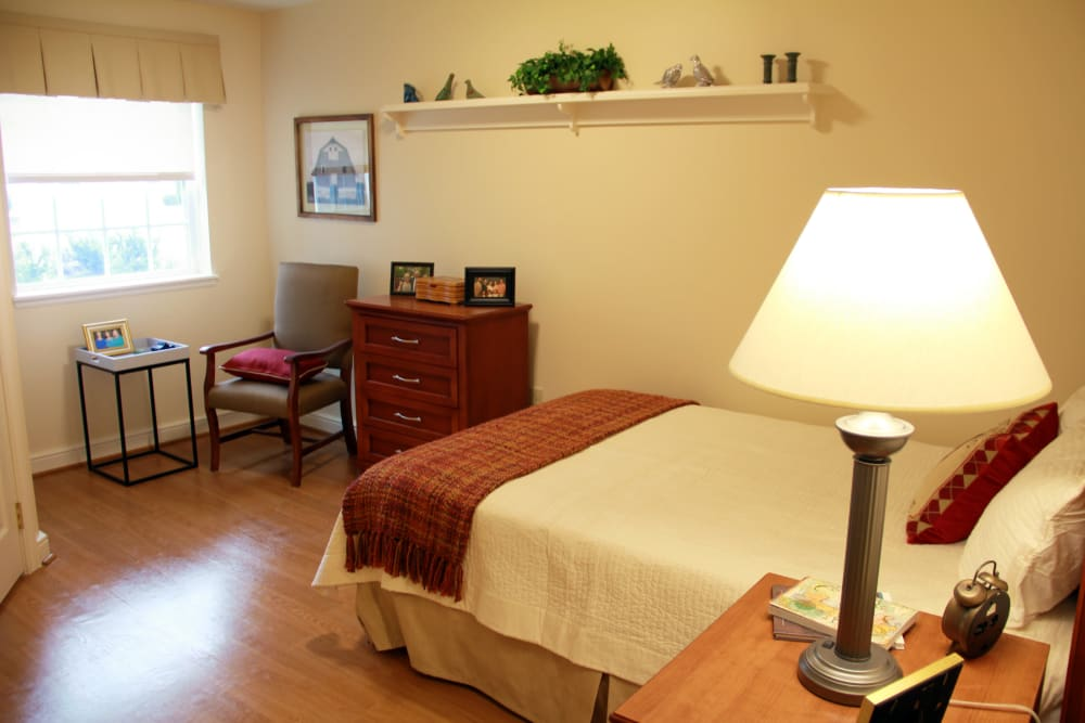 A bedroom at Artis Senior Living of Potomac in Bethesda, Maryland