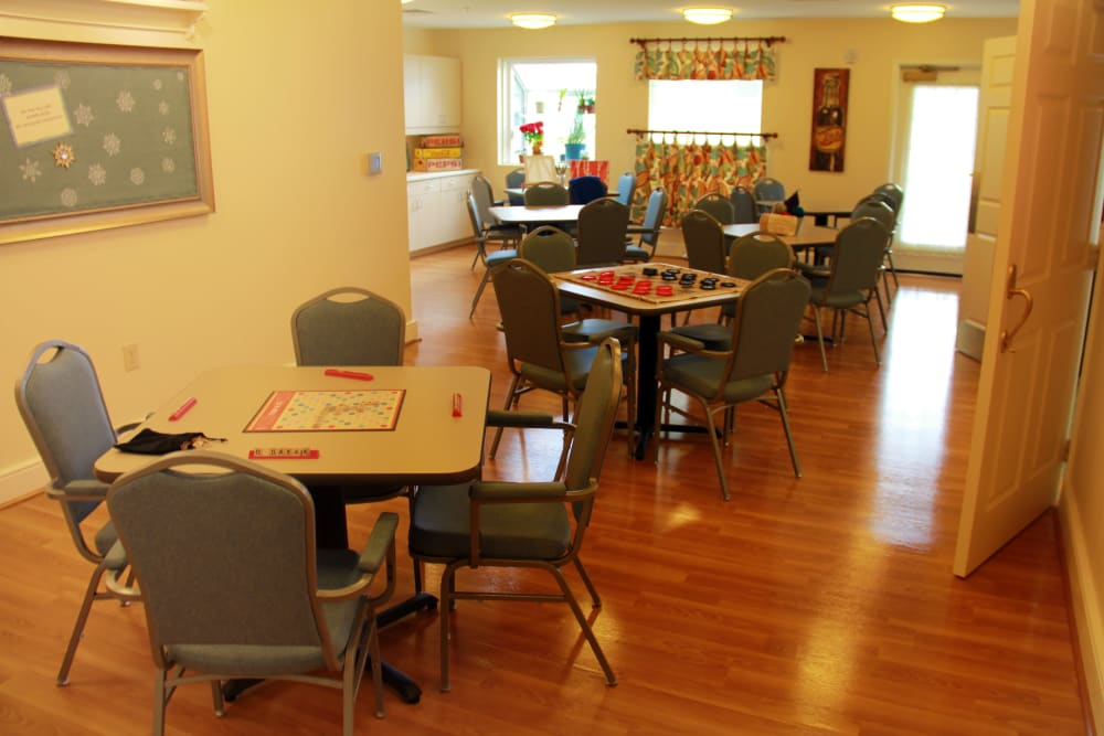 The gaming room at Artis Senior Living of Potomac in Bethesda, Maryland