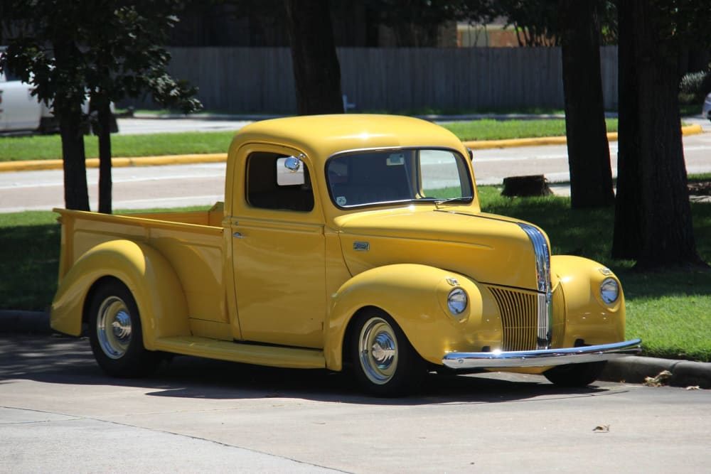 Yellow truck at Parsons House Cypress in Cypress, Texas