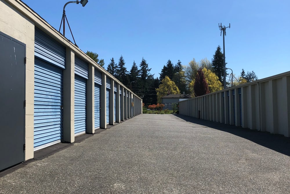 Outdoor units with motion lights at Trojan Storage in Everett, Washington