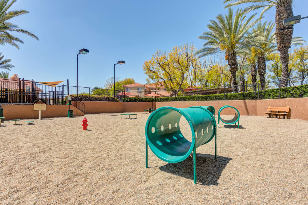 Dog park with toys at Tuscany Village Apartments in Ontario, CA