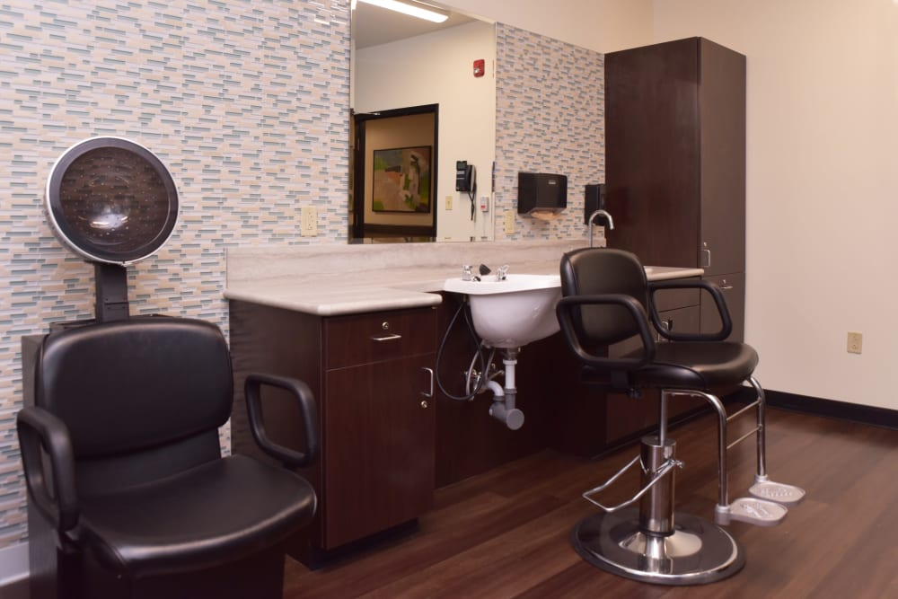 An on site hair salon at Smith's Mill Health Campus in New Albany, Ohio