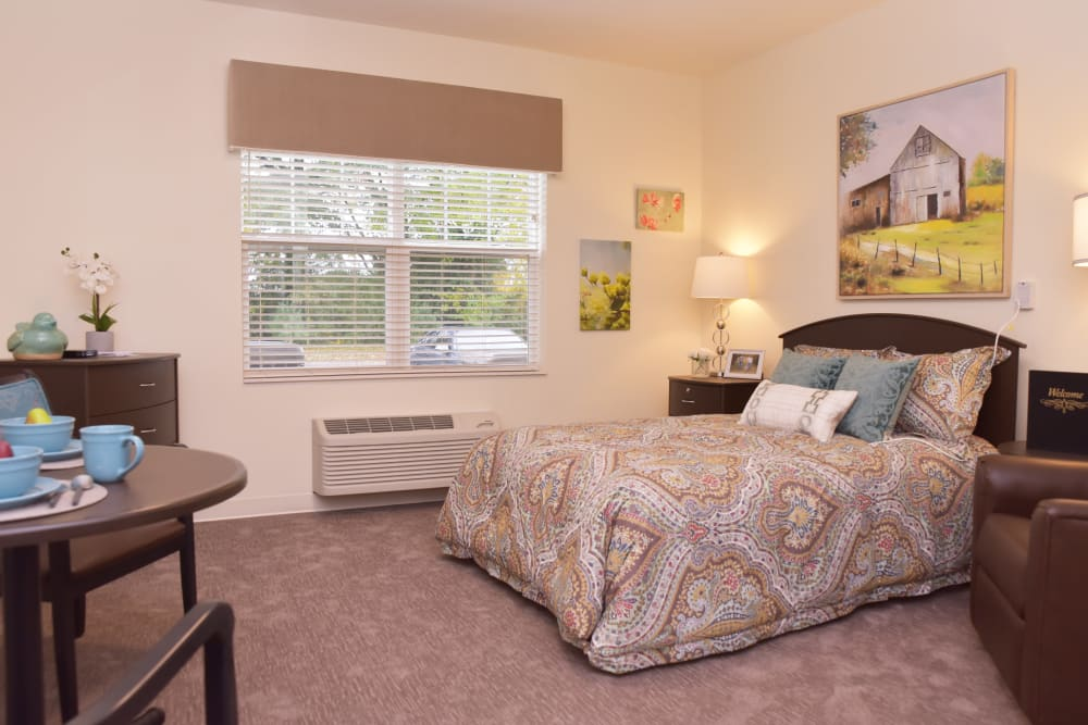 A studio apartment at Smith's Mill Health Campus in New Albany, Ohio