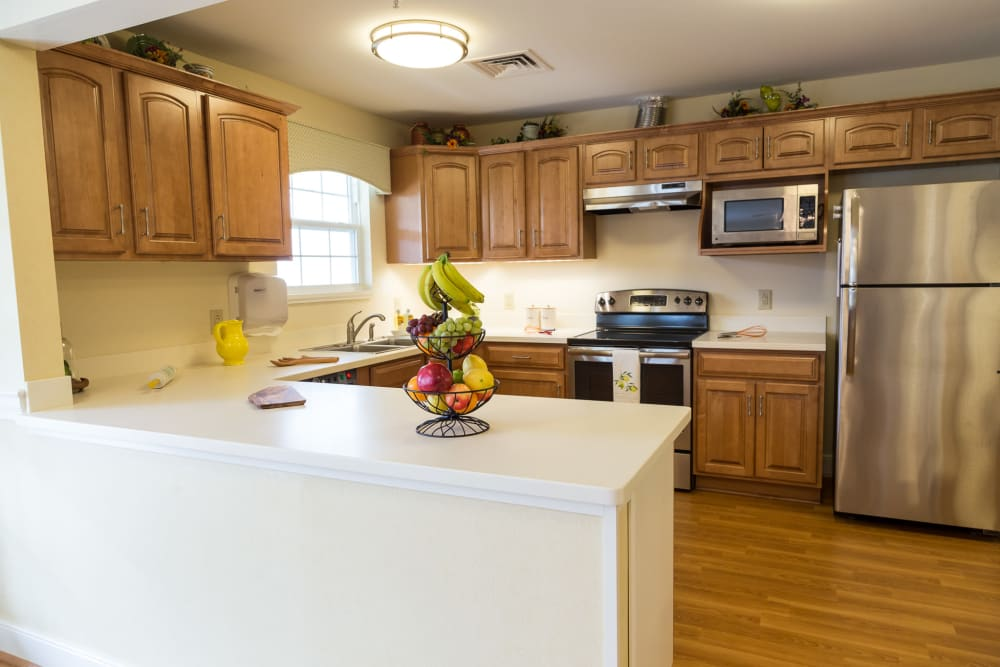 The kitchen layout at Artis Senior Living of Woodbury in Woodbury, Minnesota
