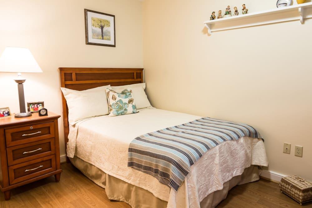 A bed at Artis Senior Living of Yardley in Yardley, Pennsylvania