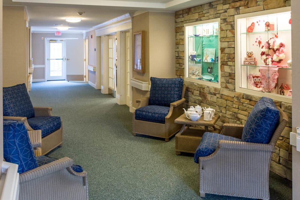 Blue seats at Artis Senior Living of Briarcliff Manor in Briarcliff Manor, New York