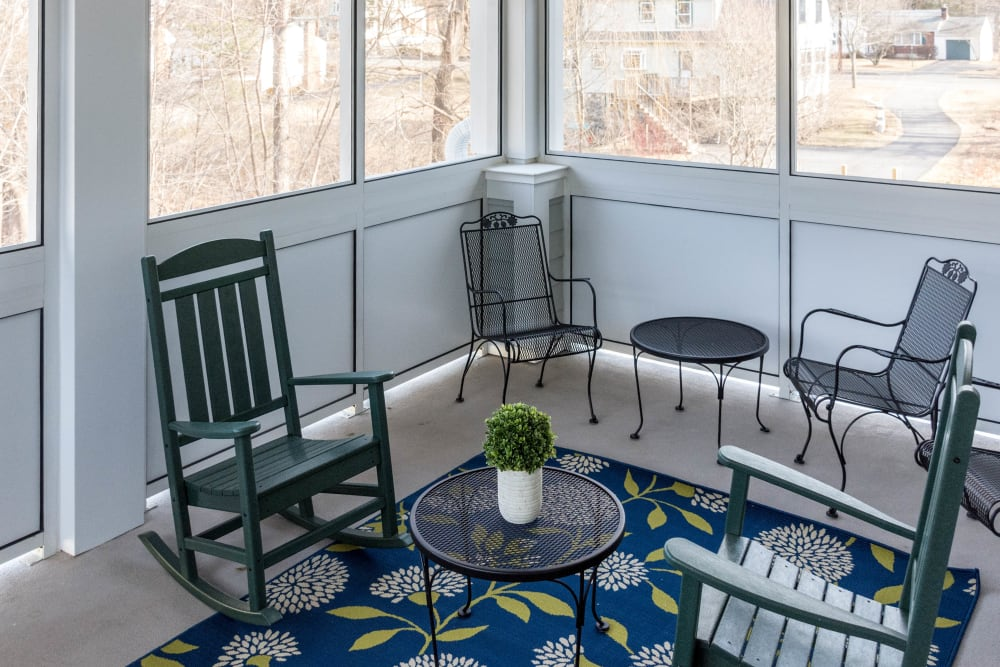 An outside seating area at Artis Senior Living of Briarcliff Manor in Briarcliff Manor, New York