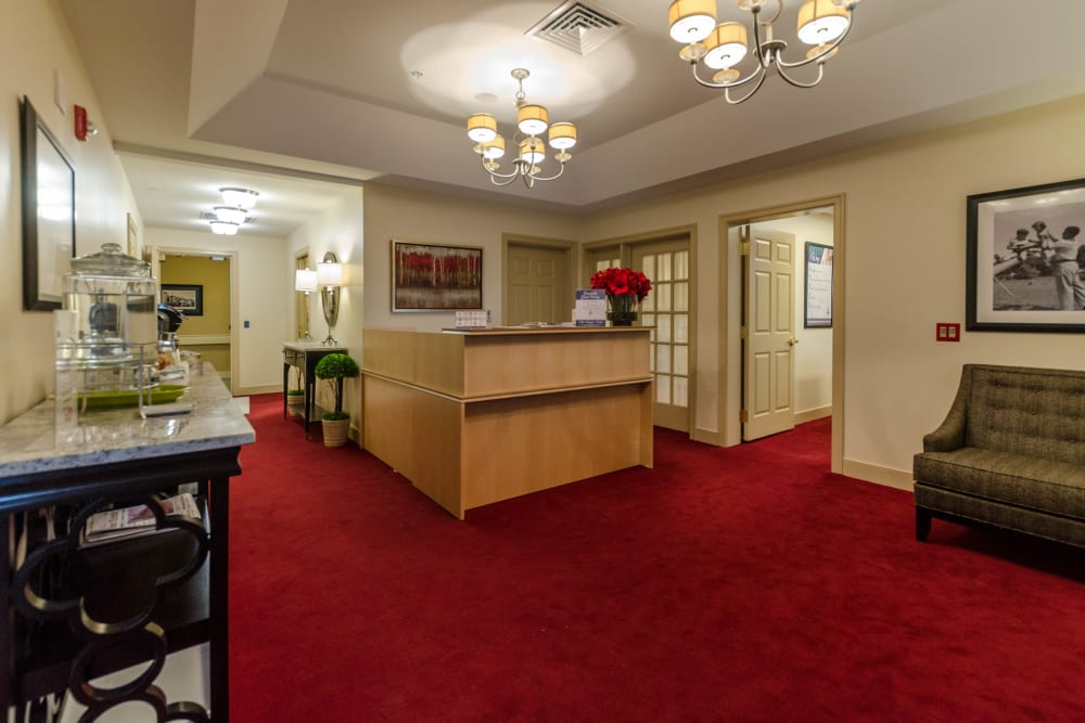 The reception desk at Artis Senior Living of Briarcliff Manor in Briarcliff Manor, New York