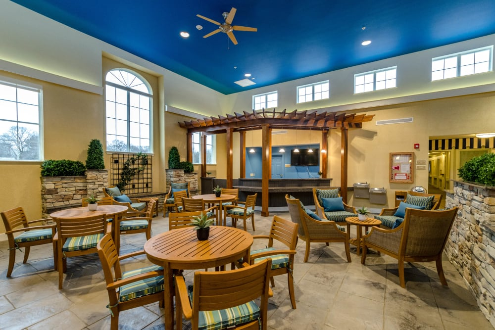 A well decorated dining area at Artis Senior Living of Briarcliff Manor in Briarcliff Manor, New York