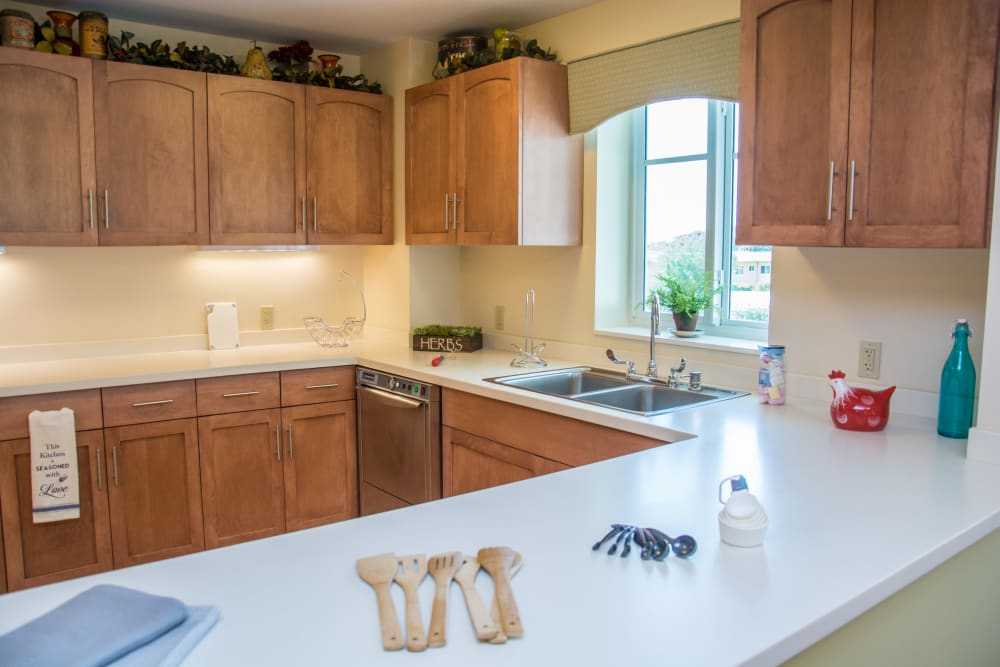 The kitchen layout at Artis Senior Living of Briarcliff Manor in Briarcliff Manor, New York