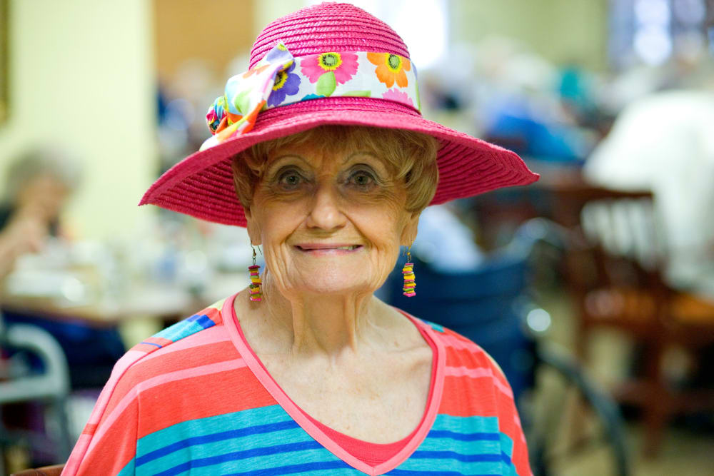 Resident with lovely pink hat at Parsons House Austin in Austin, Texas
