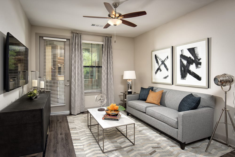 Modern decor in the living area of a model home at The Core Scottsdale in Scottsdale, Arizona