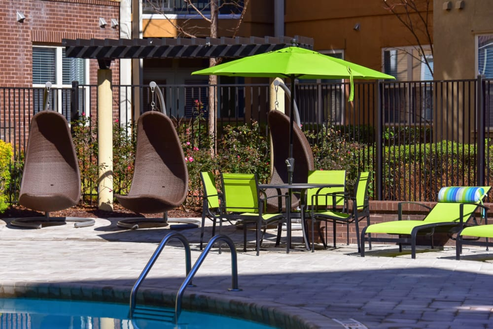 Cozy seating at the pool of Seventeen West in Atlanta, Georgia