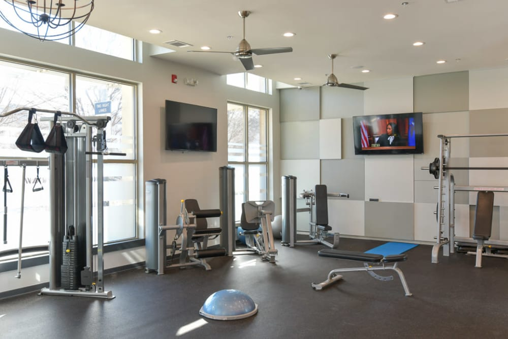 Newly expanded fitness center at Seventeen West in Atlanta, Georgia