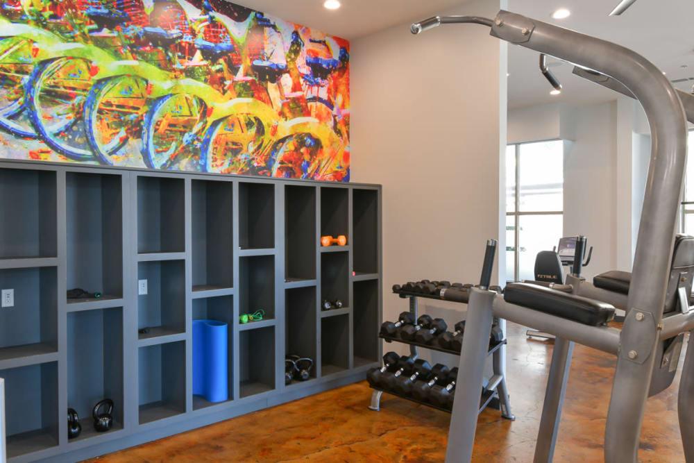 Weight machine at Seventeen West in Atlanta, Georgia