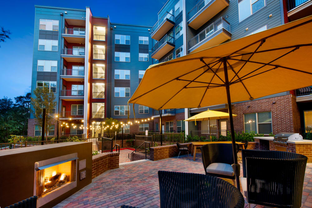 Outdoor patio with a fireplace at City View Vinings in Atlanta, Georgia