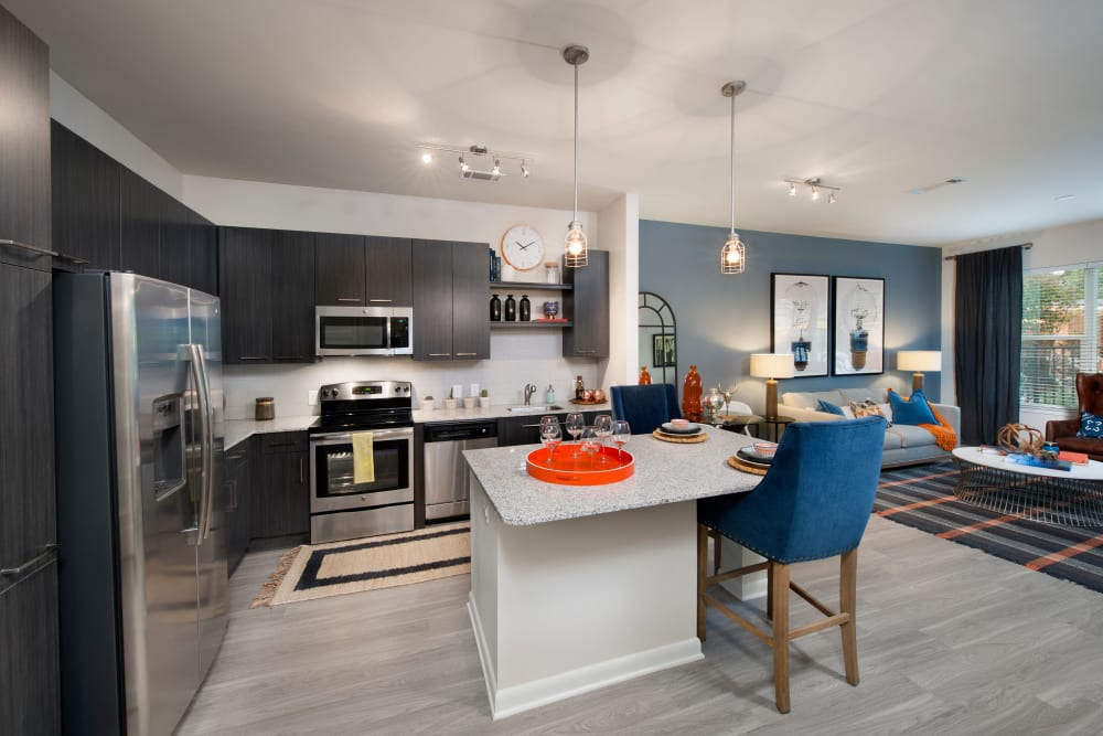 Kitchen with stainless steel appliances at City View Vinings in Atlanta, Georgia