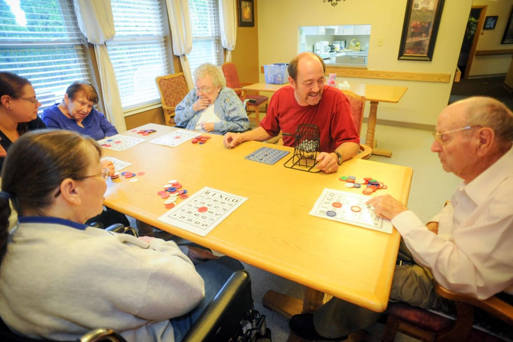 A group of seniors playing games at Chandler House in Yakima, Washington