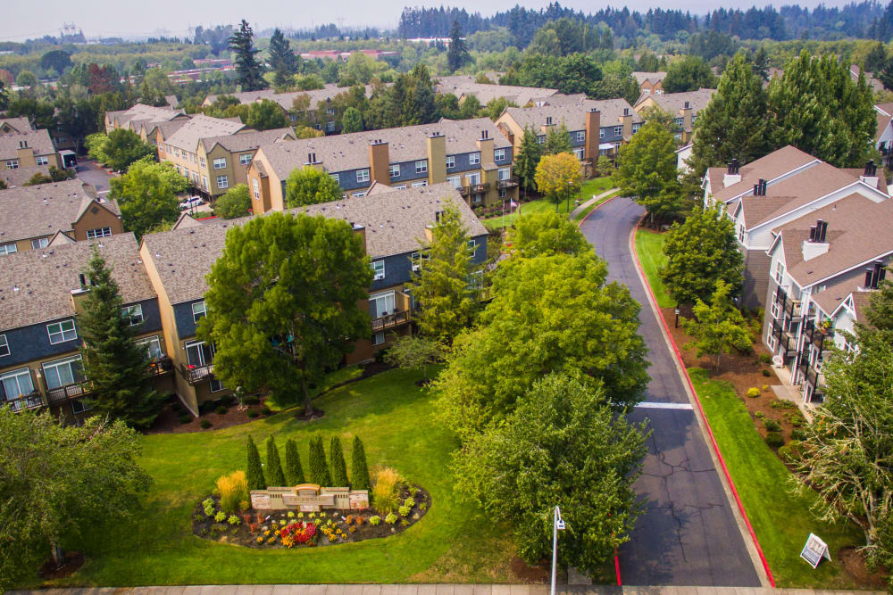 Aerial view of The Colonnade Luxury Townhome Rentals' stunning property in Hillsboro, Oregon