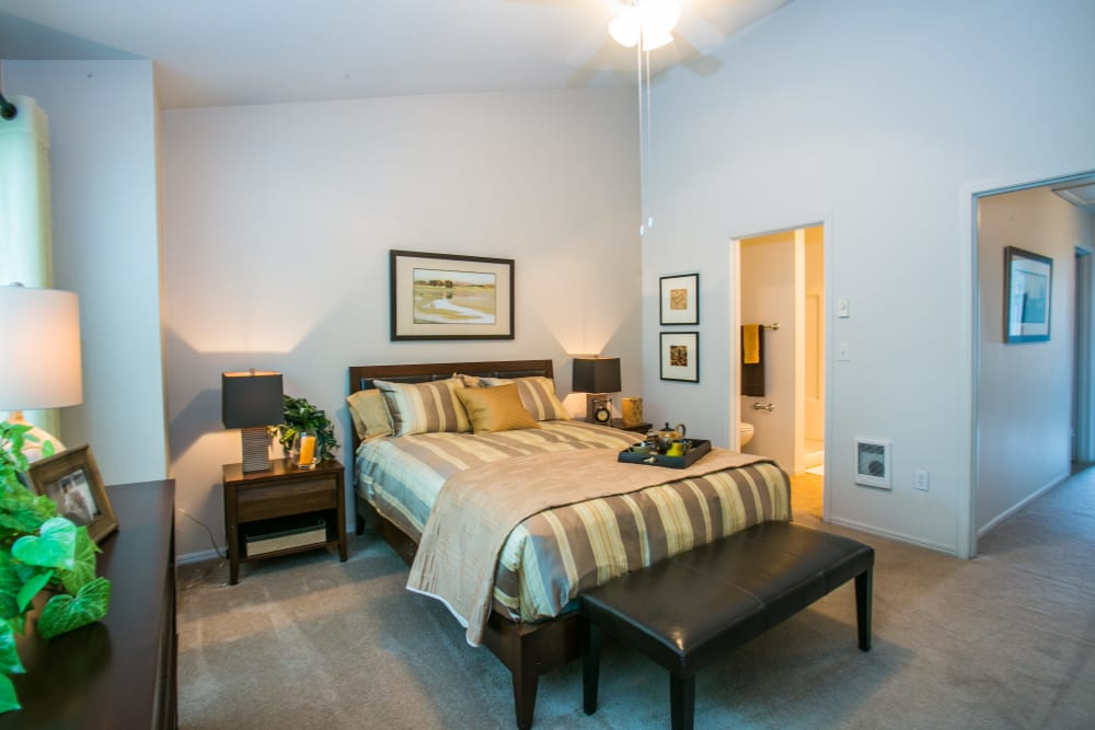 Bright, spacious bedroom at The Colonnade Luxury Townhome Rentals in Hillsboro, Oregon