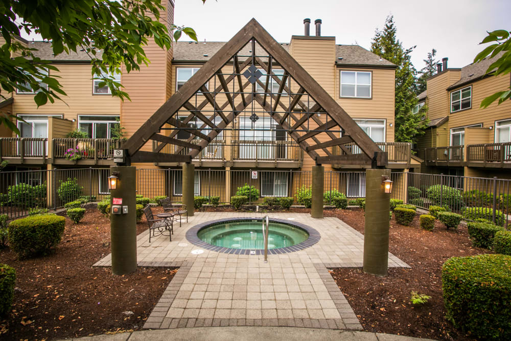 Relax in The Colonnade Luxury Townhome Rentals' hot tub in Hillsboro, Oregon
