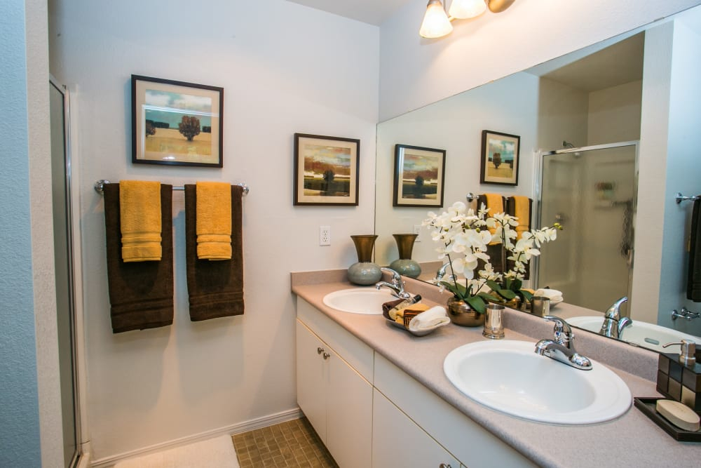 Well lit bathroom at The Colonnade Luxury Townhome Rentals in Hillsboro, Oregon