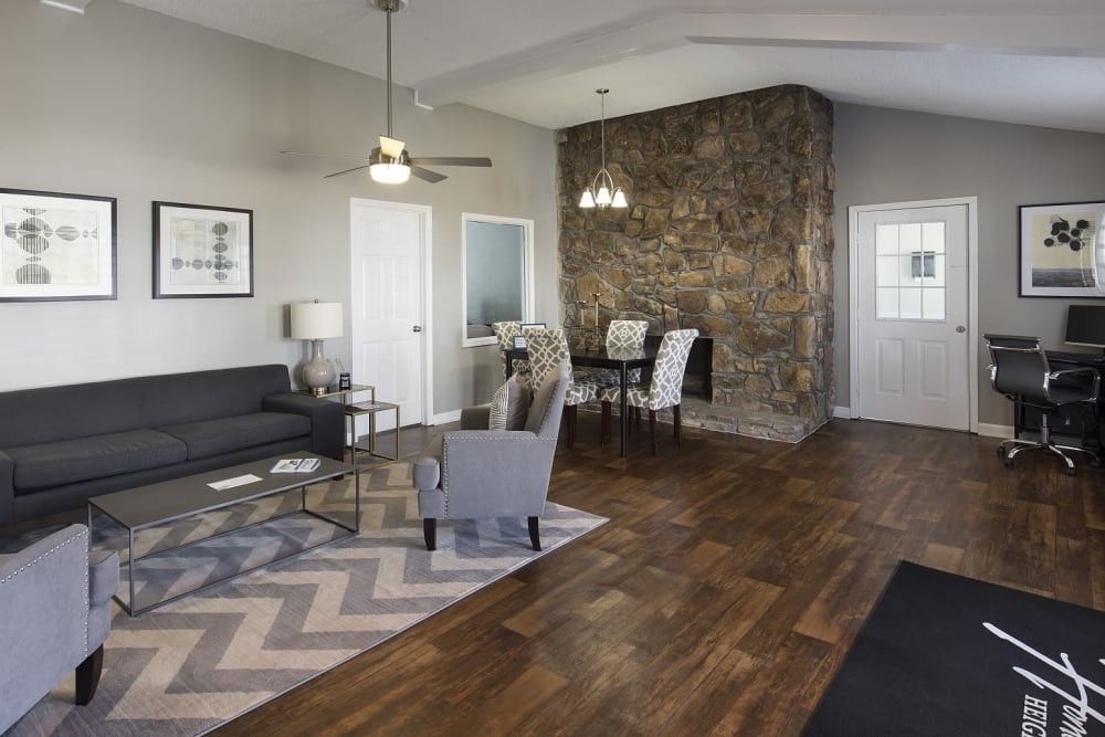 Beautifully decorated model living room at Homewood Heights in Birmingham, Alabama