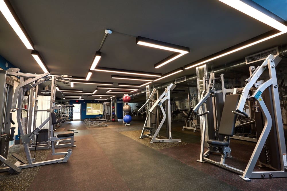 Fully equipped fitness center at Aliro in North Miami, Florida