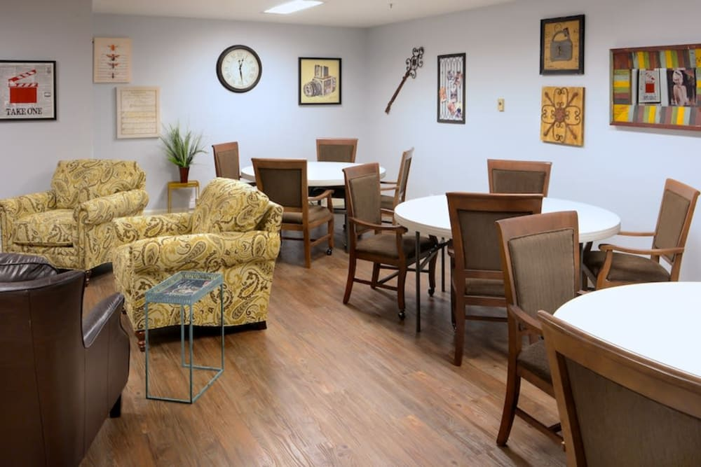 An activity room at Peters Creek Retirement & Assisted Living in Redmond, Washington