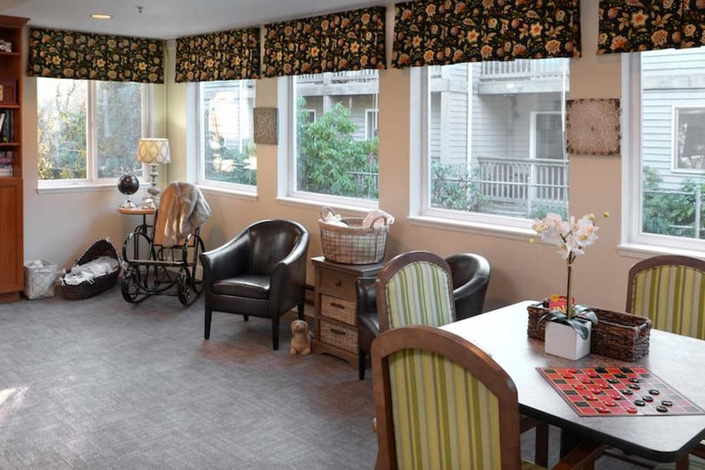 An activity area at Peters Creek Retirement & Assisted Living in Redmond, Washington