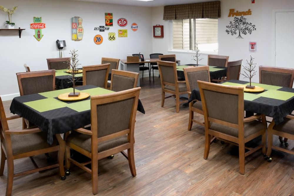 Dining tables at Peters Creek Retirement & Assisted Living in Redmond, Washington