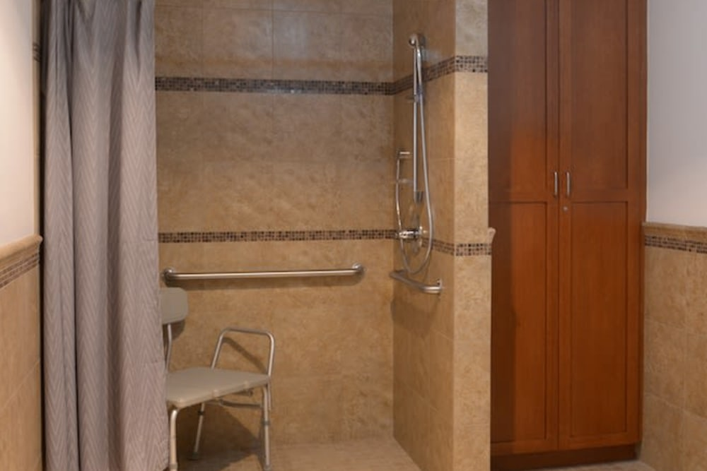 A large shower at Peters Creek Retirement & Assisted Living in Redmond, Washington
