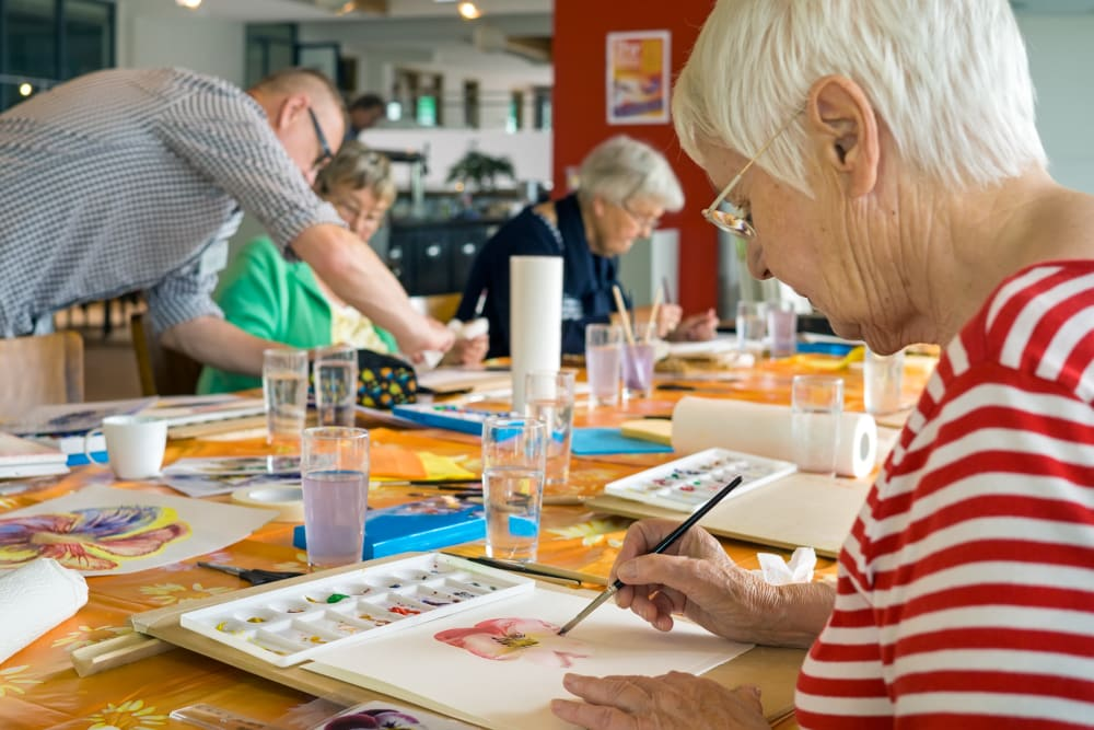Painting class offered at Keystone Place at Forevergreen in North Liberty, Iowa