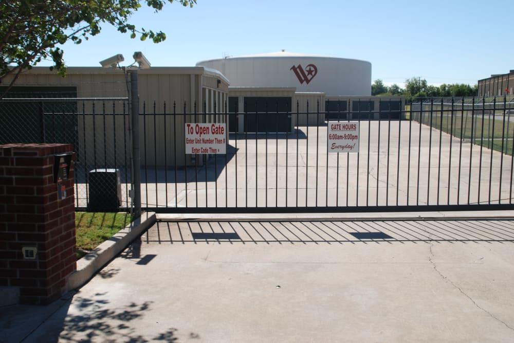 Gate at Aarons Self Storage 2 in Waco, Texas