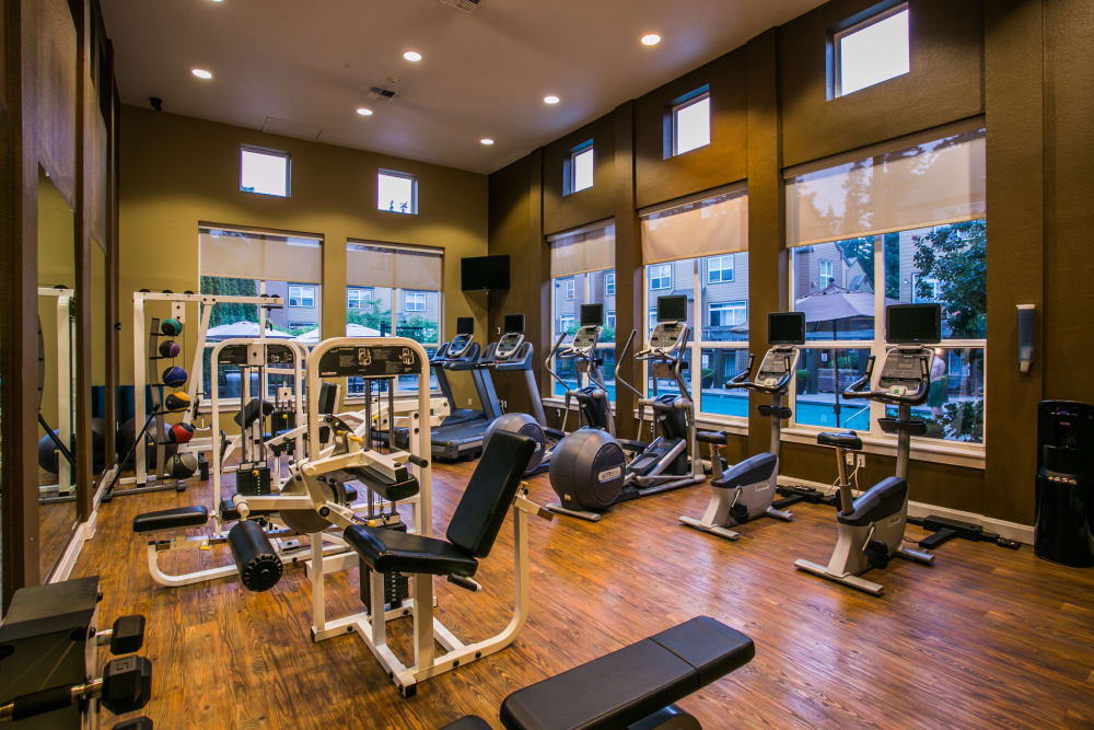 Fitness center for residents at The Colonnade Luxury Townhome Rentals in Hillsboro, Oregon