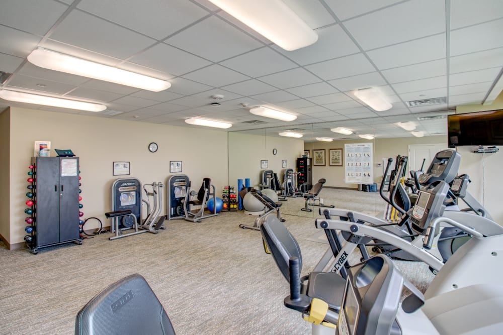 Fitness room at The Village of River Oaks in Houston, Texas