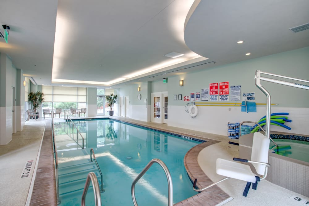 Indoor swimming pool at The Village of River Oaks in Houston, Texas