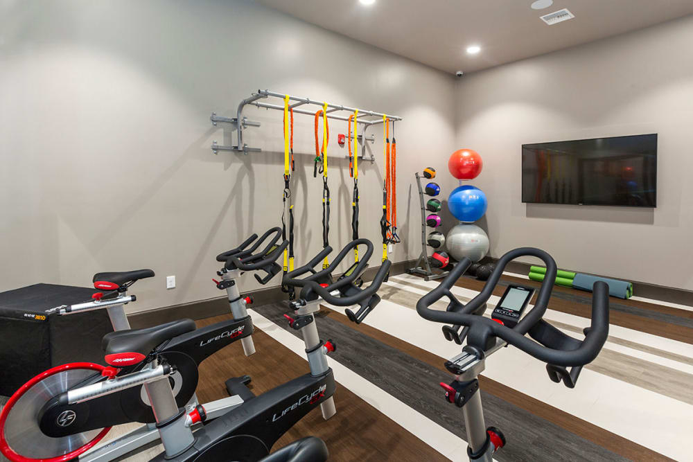 Fully equipped fitness center at The Overlook at Interquest in Colorado Springs, Colorado