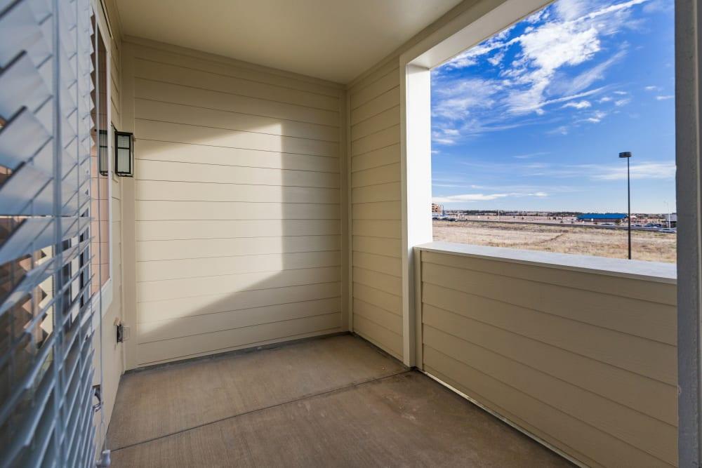 Private patio at The Overlook at Interquest in Colorado Springs, Colorado