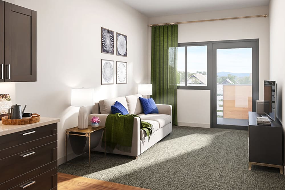 Studio senior apartment with a balcony at Sage Glendale in Glendale, California