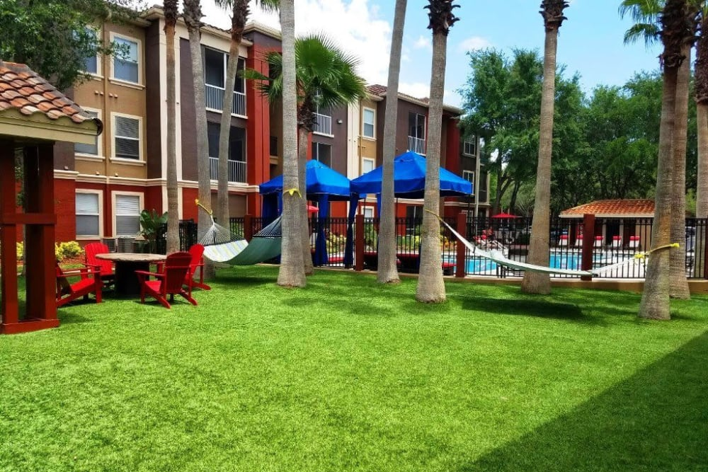 Poolside lawn for picnics in the summer sun at Amara at MetroWest in Orlando, Florida