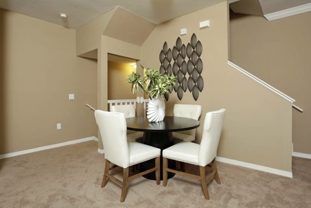 Dining room with high ceilings at Amara at MetroWest in Orlando, Florida