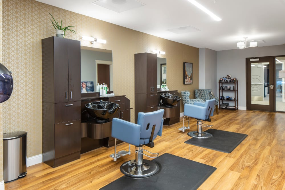 Community barber shop and hair salon of Touchmark in the West Hills in Portland, Oregon